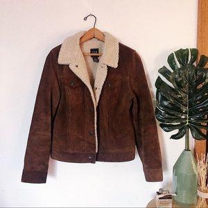 GAP Brown Leather Sherpa Jacket